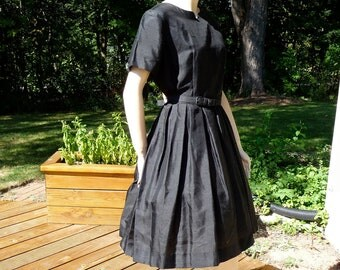 Vintage Black Silk Dress, full cupcake skirt from Carol Brent, Large