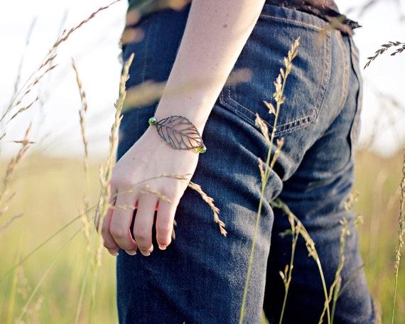 Leaf Bracelet - Nature Jewelry - Boho Bracelet - Autumn Jewelry - Bohemian Bracelet - Fall Bracelet - Autumn Bracelet - Birthstone Bracelet