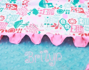 Lovey Blanket with Pink Satin Ruffle- Forest Life - Turquoise minky dot- personalization available YOU CHOOSE COLORS