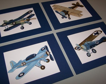 AIRPLANE boy nursery art, vintage airplane art prints, airplane artwork, airplane bedding art, baby boy airplane nursery