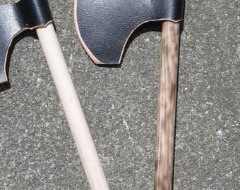 Wood & Leather Viking Bearded Axe