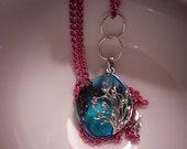 Blue Glass Tree Pendant Necklace