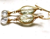 "Petite Gold, Green Amethyst and White Topaz Wire Wrapped Earrings - Small Gold Earrings  ""Pretty Little Drops """
