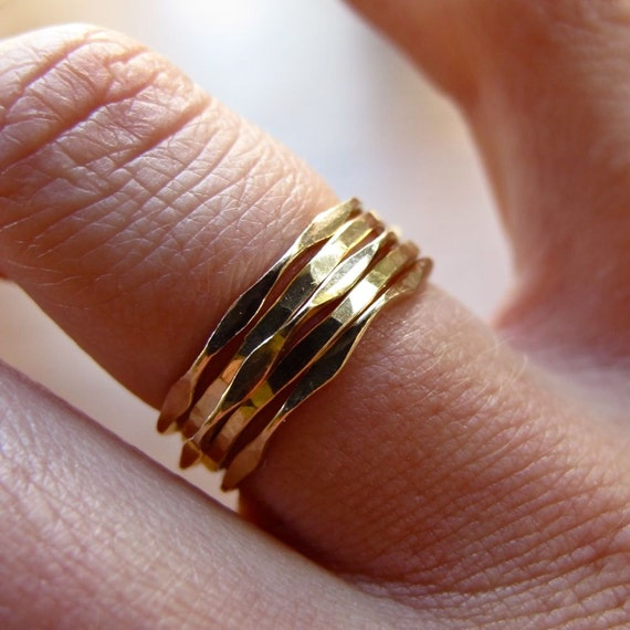 Thin Gold Rings // Mixed Set of Five Gold Stacking Rings // 2 I'm Hammered Wavy and 3 Pretty Girl 14k Gold Filled Ring Set