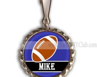 Football Party Favor Football Party Ideas Boys Football Birthday Party Favors - Personalized Zipper Pulls Custom Name Color
