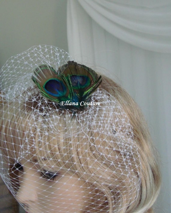 Birdcage Veil with Peacock Feather Accent. Vintage Inspired Headpiece.