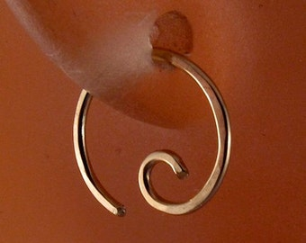 tiny cartilage earring 14k GOLD FILLED hoop. spiral. piercing. septum. brow. endless. catchless. sleeper goldfilled wire.10mm No.00E294