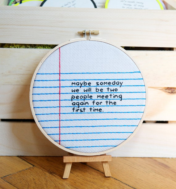 maybe someday / notebook paper love note / wall hanging cross stitch hoop / rugglesmade