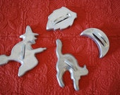 Vintage Halloween Cookie Cutters Witch, Cat, Moon