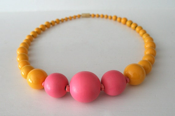 """RESERVED for R.A.L.: Color Block Necklace in Mango / Neon Strawberry / Globes of Yellow / Hot Pink / """"Fizzle Foxglove"""""""