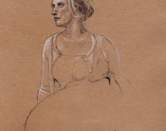 Laura - Original drawing / sketch  chalk and pen on brown paper