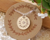 Hand Stamped Charm Necklace with Names