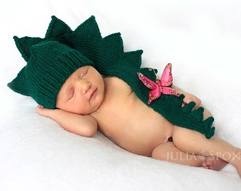 Baby Infant Newborn  dinosaur dragon crocodile aligator green hat. Halloween costumes   Photo Prop