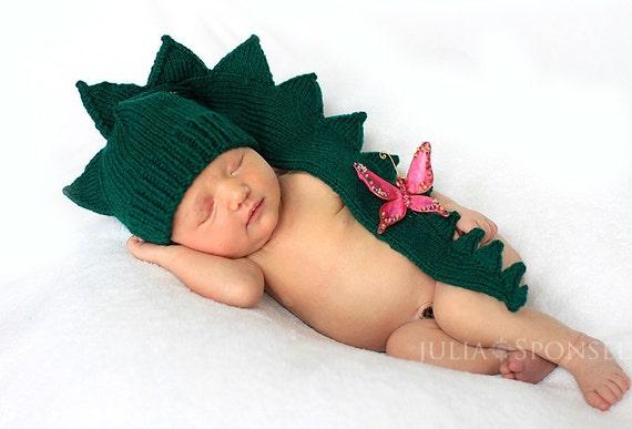 Baby Infant Newborn  dinosaur dragon crocodile aligator green hat. Halloween costumes   Photo Prop
