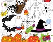 Halloween Clipart, Printable Halloween Digital Clip Art, Spooky, Skeleton, Ghost, pumpkin clipart, bats, spiders, spider web, trick or trea