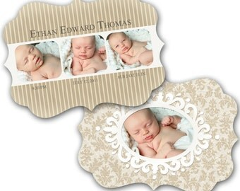 INSTANT DOWNLOAD - Birth announcement photo card template, Luxe card - 0297