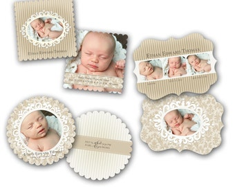 INSTANT DOWNLOAD - Birth announcement photo card templates, Luxe 3 pack - 0297-99