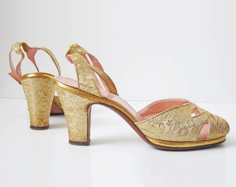 1940s Shoes/ 40s/ Peeptoe Gold Glam Heels