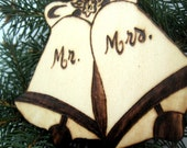 Mr. and Mrs. Ornament -Personalizable Wedding Bells -Just Married, First Christmas gift or gift tag