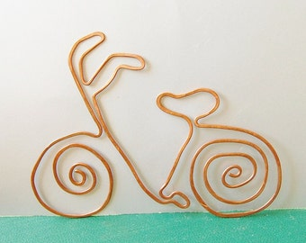 Bicycle copper bookmark from salvaged copper