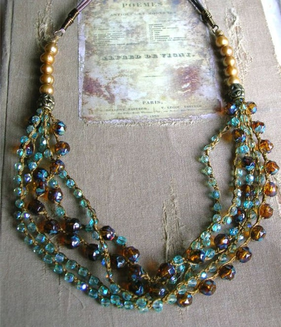 Bohemian necklace - Neptunes Daughter - Boho chic statement jewelry, crochet necklace, sea, ocean, leather and pearls, amber, aqua, topaz