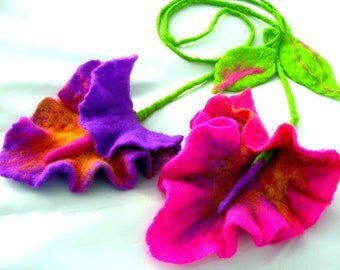Felted Flower, Hand Felted, Wool Jewelry felted  SCARF/NECKLACE-wild  orchid-