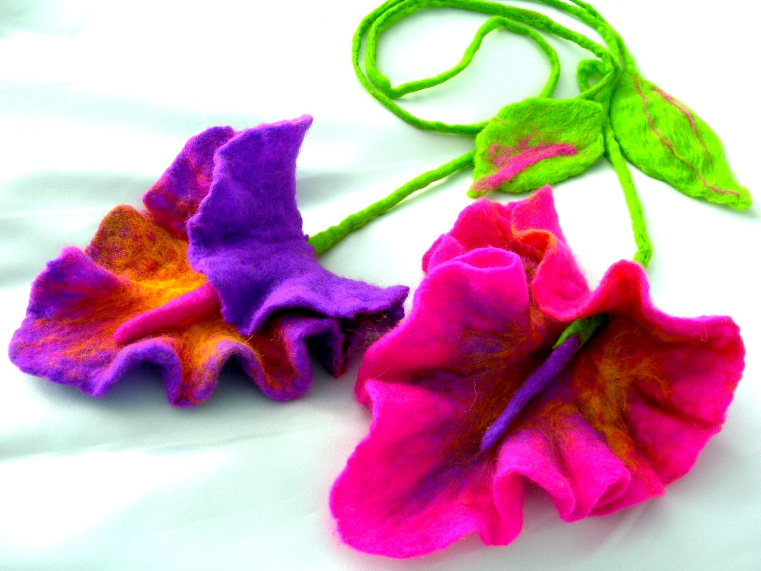 Felted Flower Hand Felted Wool Jewelry felted