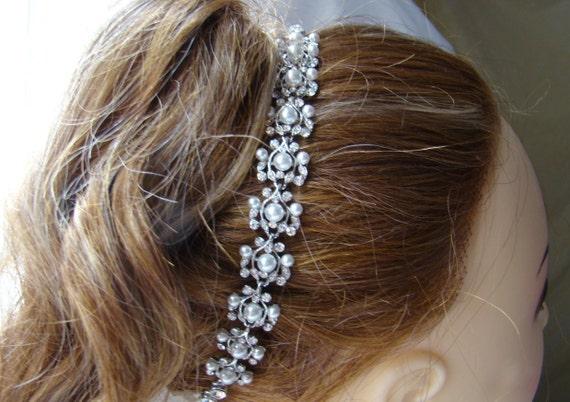 Bridal Headband or Bracelet, Clear Rhinestone White Pearl Wedding Jewelry, Bridesmaid Gift, 3 Choices #H134