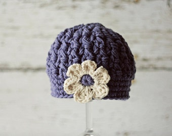 Purple Newborn Baby Hat with Flower, Hats for Babies, Beanie Hat for Newborn Girls, Infant Hat, Newborn Size