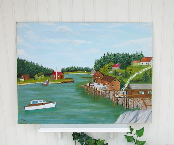 Vintage Oil Painting-Seascape- Maine Lobster Cove- Folk Art Style