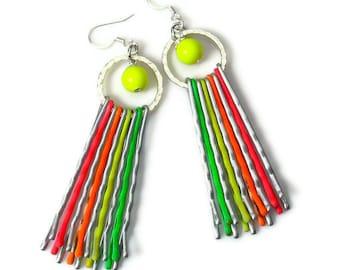 Repurposed Colorful Neon Earrings,  Neon Rainbow, Fun and Funky, Rainbow Earrings, Upcycled Jewelry, Bobby Pins, Dangle Earrings