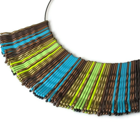 Funky Necklace, Bib Necklace, Green Turquoise