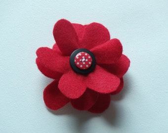 Red large flower hair alligator clip with black and white layered buttons