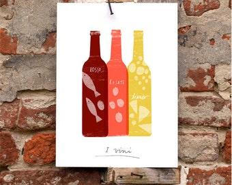 """Wine art - Vino Italiano print - Art for Kitchen - 11""""x15 - archival fine art giclée print"""