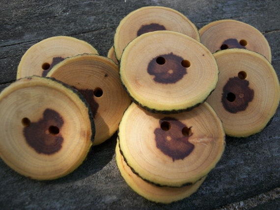 10 Rustic Apple Wood Buttons. 1.25 Inches Wide
