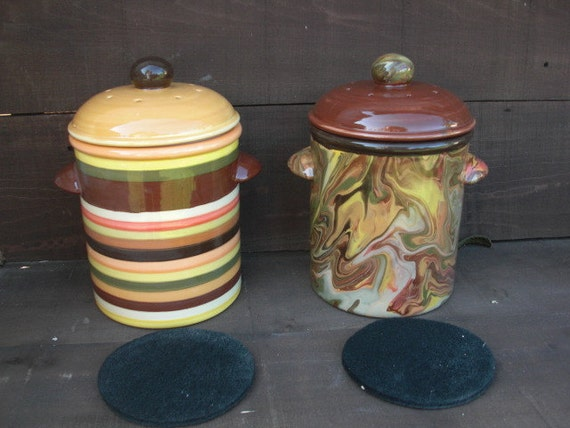 Earth Tones Swirled Ceramic Compost Lidded Canister with Charcoal Filters - Dark Chocolate Brown Interior