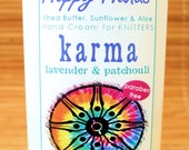 Karma - Lavender Patchouli Scented Hand Cream for Knitters - 4oz Medium HAPPY HANDS for Knitters Shea Butter Hand Lotion