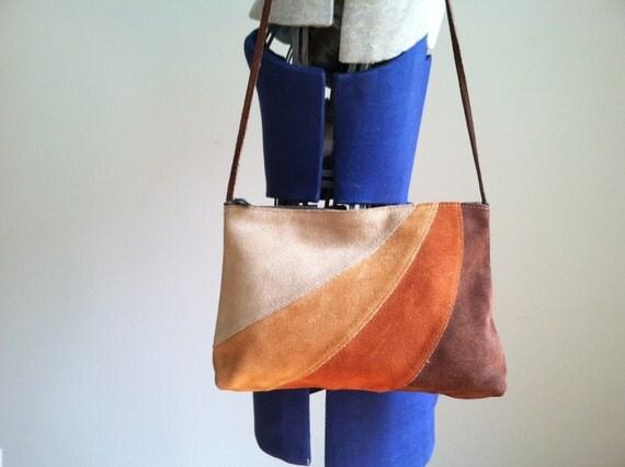 sale 1970's SUEDE LEATHER SHOULDER bag. 4 color