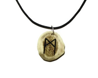 Mannaz Bone Rune Necklace
