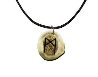 Mannaz Bone Rune Necklace