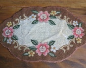 Vintage Hooked and Crewel Work Shaped Doily