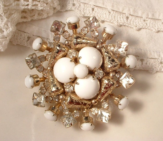 Vintage Brooch OR Hair Comb, Milk Glass &  Rhinestone Heirloom Gold Bridal Brooch