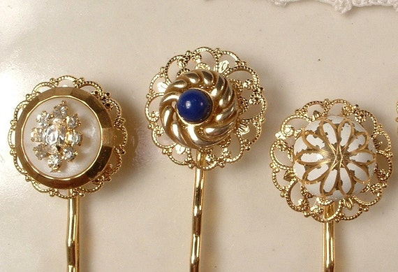 RESERVED Vintage White Milk Glass & Rhinestone Gold Bridal Bobby Pins - OOAK Gold Plated Heirloom Jeweled Hair Pins Set of 3