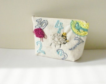 Clutch Purse - Counting Sheep Clutch-  Embroidered Purse