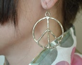 Vintage Peace Sign Silver Earrings