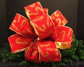 Bow Christmas Tree Topper Designer Ribbon Christmas Bow Tree Topper Decoration Red and Gold Candy Cane