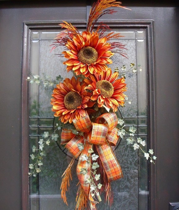 Fall Door Swags: Items Similar To Fall Wreath Orange Sunflower Swag Front