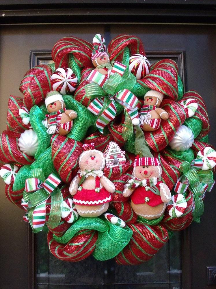 Gingerbread Men Wreath Christmas Mesh Wreath Christmas
