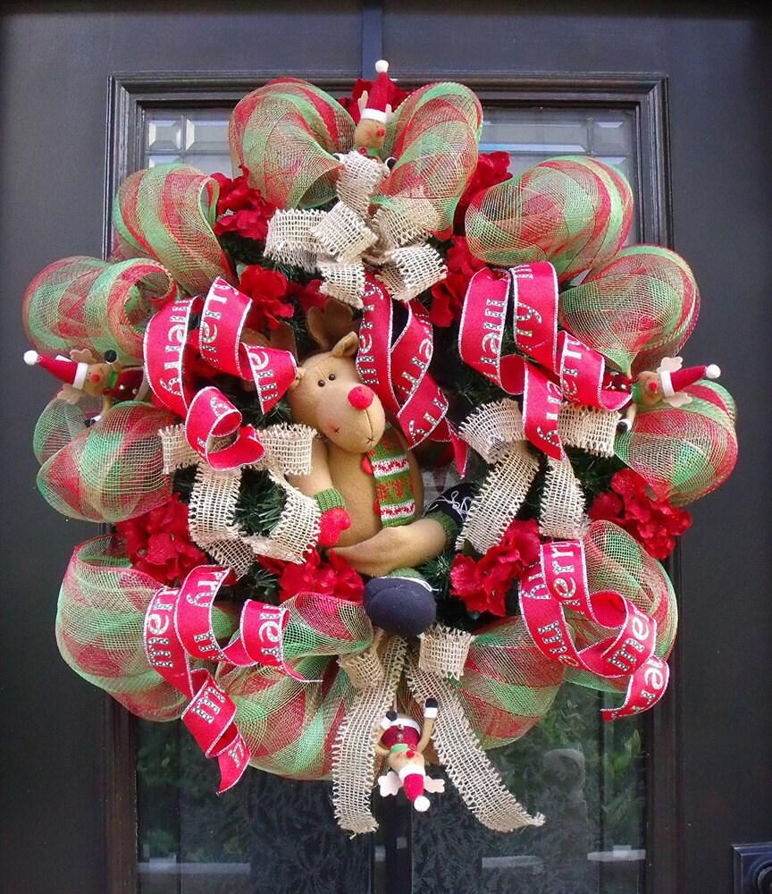 Merry Reindeer Christmas Wreath Christmas Deco Mesh Wreath