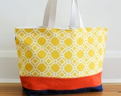 EXTRA Large Beach Bag // Tote in Yellow Geometric with an Orange Accent